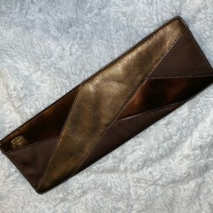 Handbags - Long Brown/Metallic Clutch